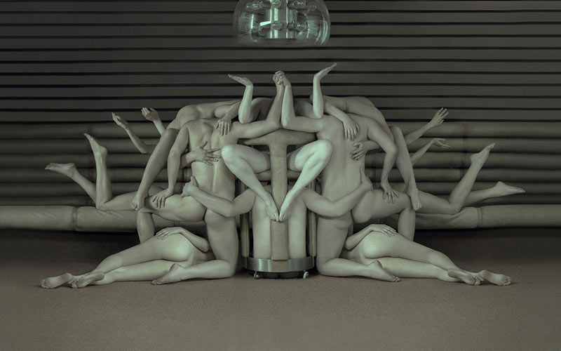 A composition of several naked human bodies.