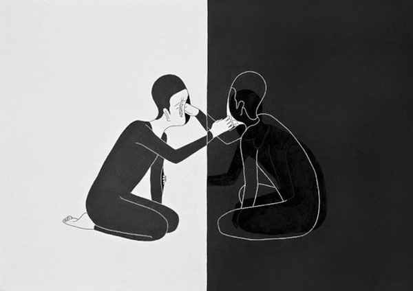 Black and white illustrations and dreamlike melancholic drawings of the moonassi series