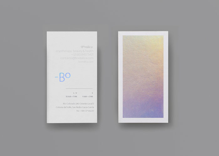 Boreálica business cards from a brand design created by Anagrama.