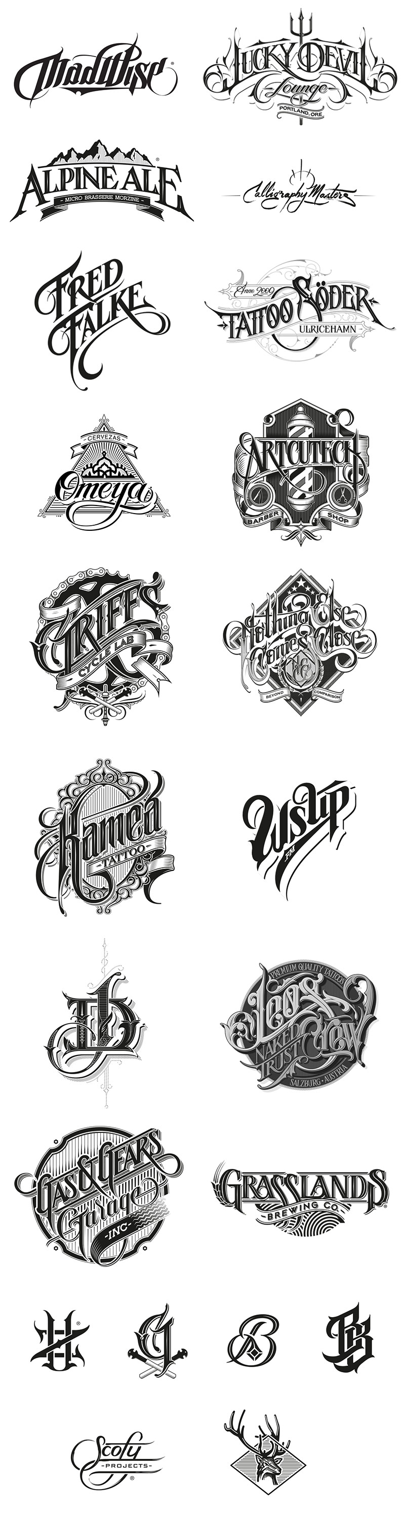 Logotypes, marks, and custom letterings by Martin Schmetzer, a Stockholm based artist and graphic designer with main focus on hand-drawn typography.