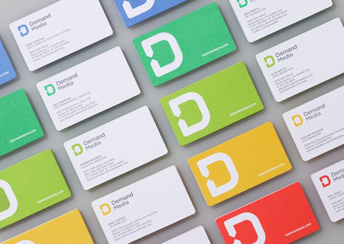 Set of business cards designed by Manual for Demand Media.