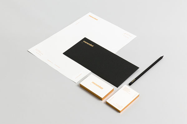 Simple and clean stationery design based on black, white, and gold.
