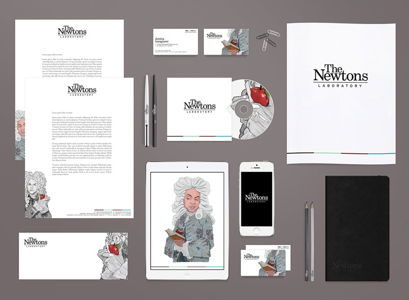 The Newtons Laboratory - redesign of the brand identity by Dimitra Karagianni and illustrator Stavros Damos.
