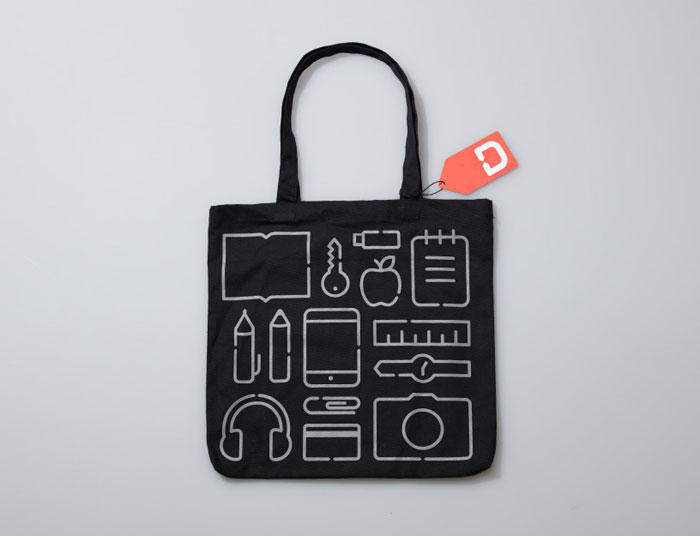 Black bag printed with several icons.