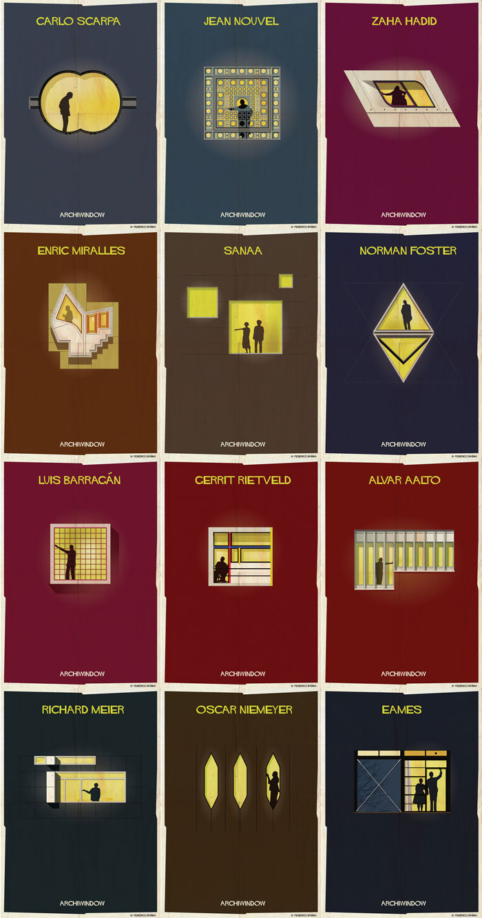 Creative artworks by illustrator Federico Babina of the Archiwindow poster series.