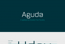 Aguda font family, a modular, geometric typeface from foundry Graviton.