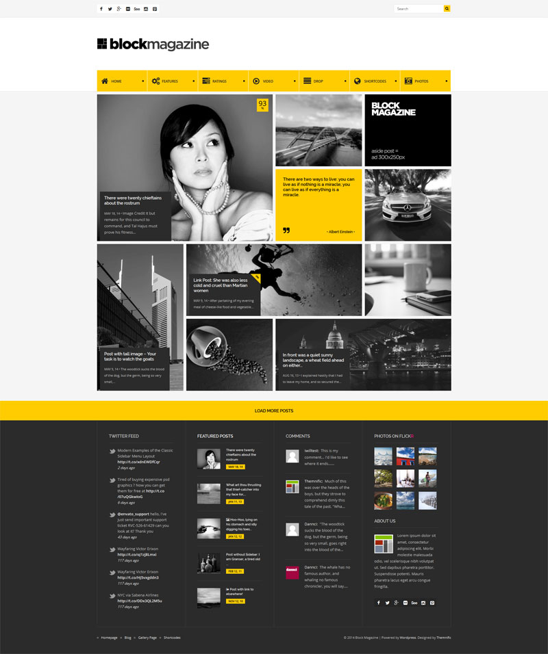 Block magazine flat minimalist blog theme for Minimalist homepage