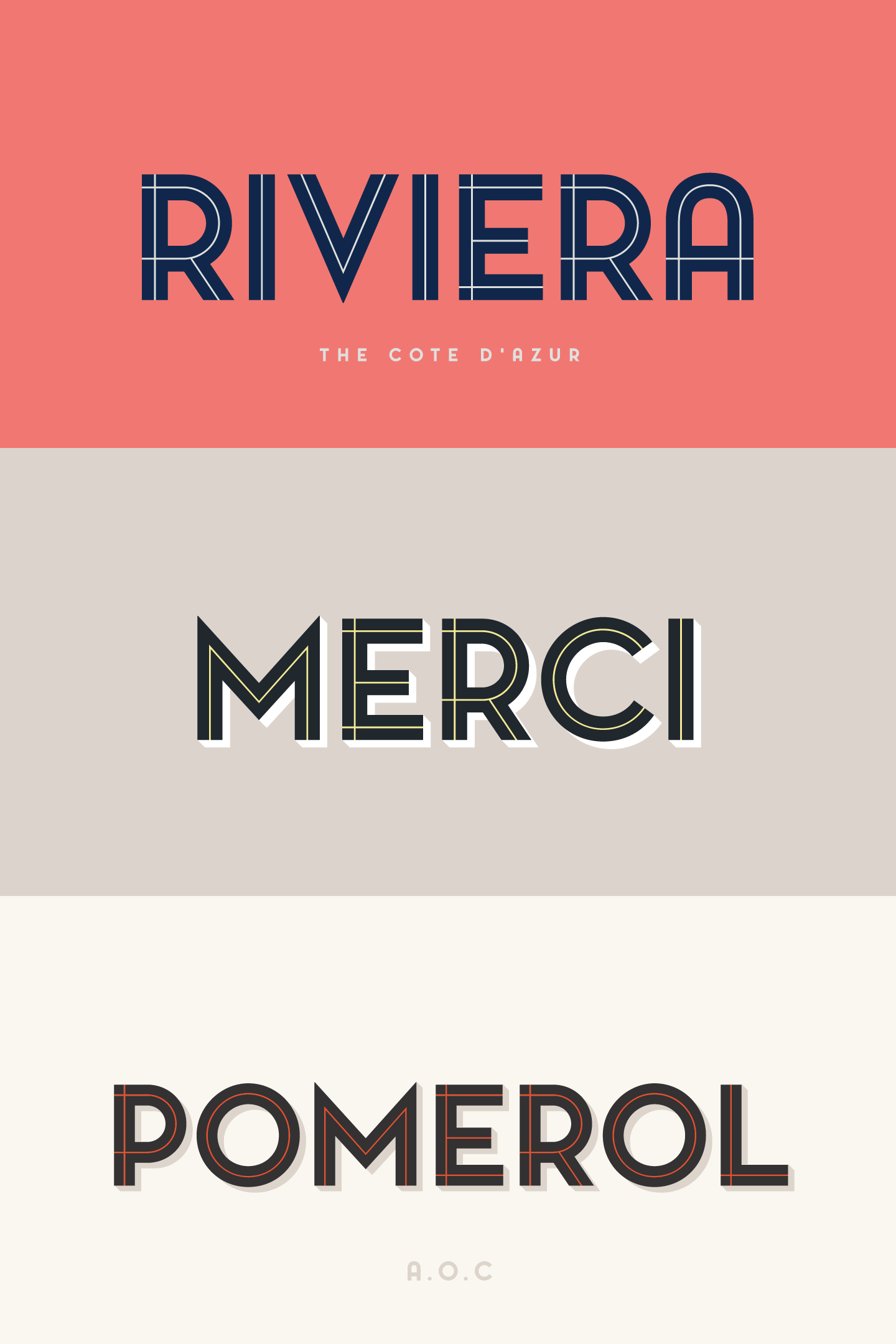 Pontiac Inline is a layered type family designed by Fanny Coulez and Julien Saurin for La Goupil Paris.