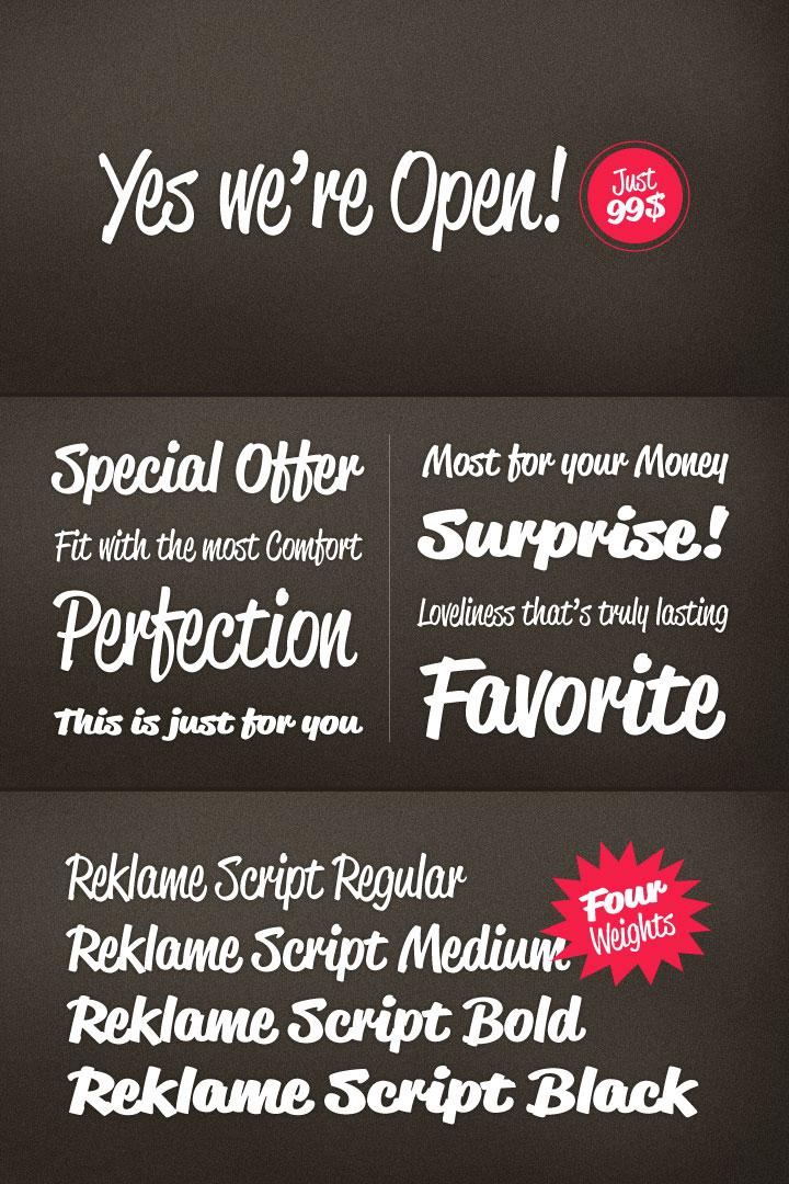 Reklame Script font family by Hannes von Döhren (HVD Fonts).
