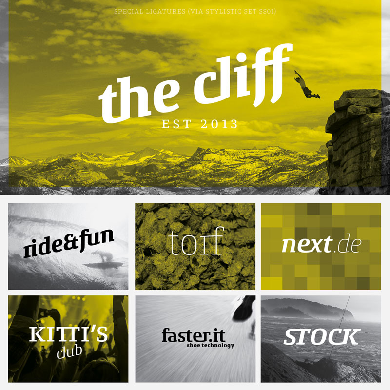 The Conto Slab font family by Nils Thomsen.