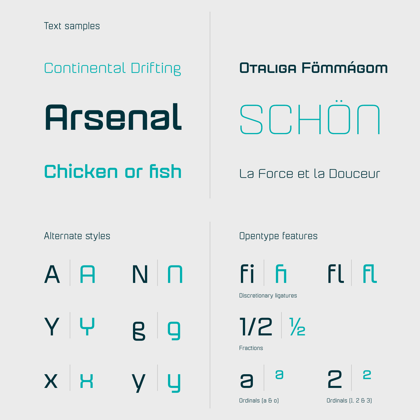 Text samples, alternate styles, and OpenType features.