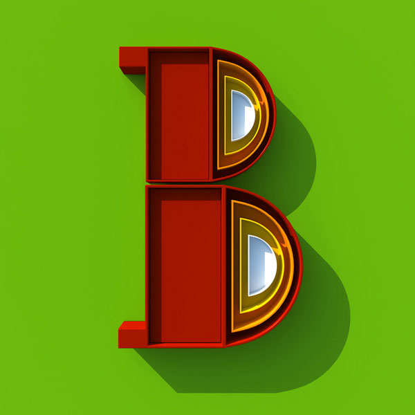 B - A series of 3D letters created by Alejandro López Becerro, a graphic designer from Madrid.
