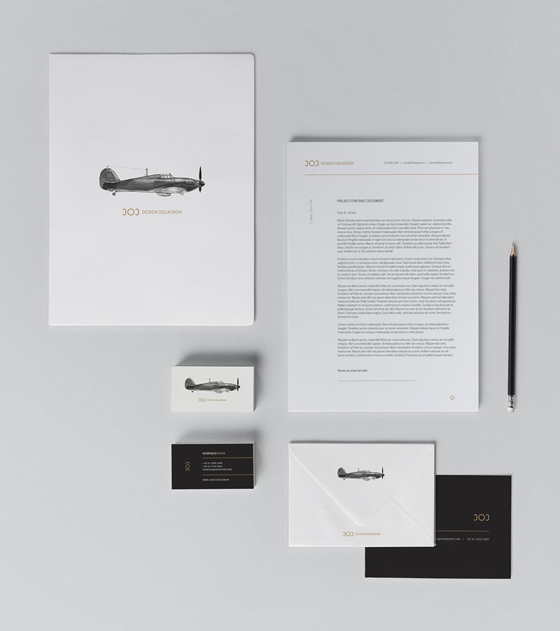 303 Design Squadron - Stationery from the design studio identity.