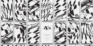 Business cards with abstract patterns on the back.