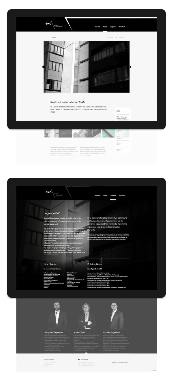 Web design by Murmure for EXO, a French architectural agency.