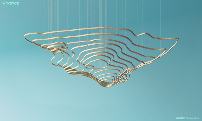 Pendant concept in the shape of patterns from topographic maps.