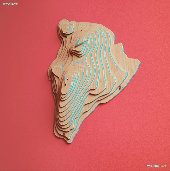 Wood wall clock - Clever product design made of reliefs.