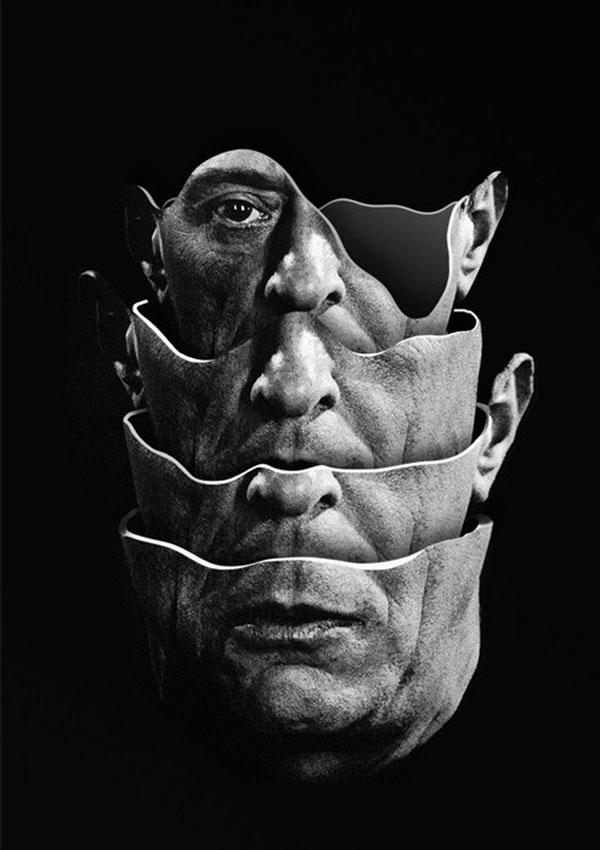 Arnold Schoenberg - Quartet - Handmade collage created in 2014.