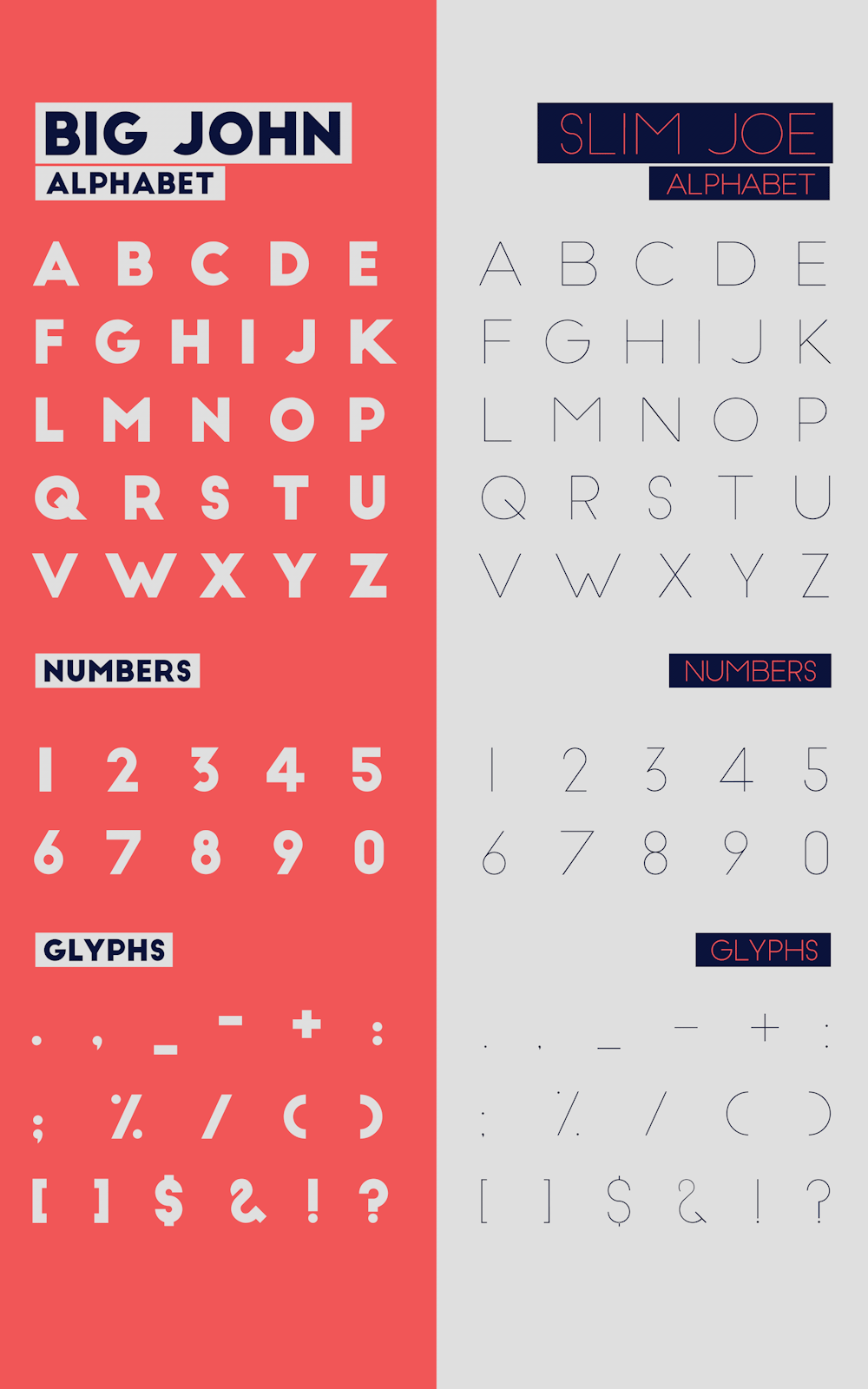 Free Fonts - Big John and Slim Joe - All characters.