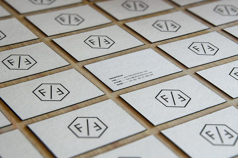 Black and white business cards of the personal brand identity.