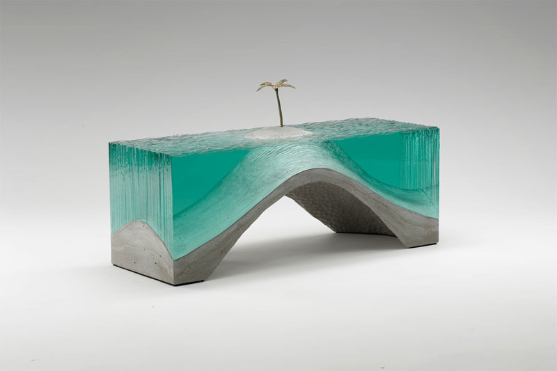 Deserted - Laminated clear float glass with cast concrete base and cast white bronze palm tree.