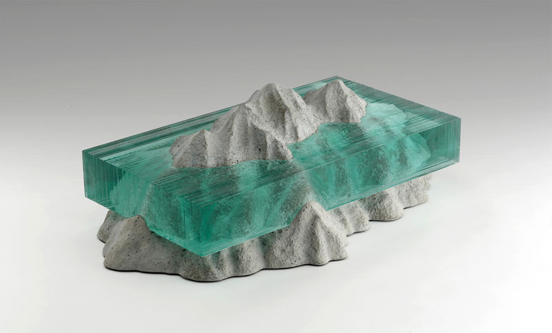 New Lands 'II' - Waterscapes glass sculpture by Ben Young.
