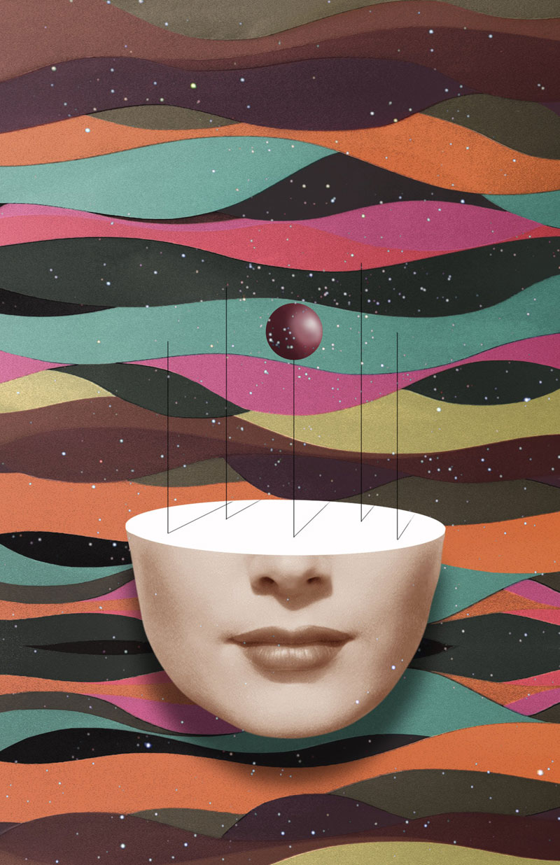 Surreal photo collages and mixed media artworks by Matthieu Bourel.