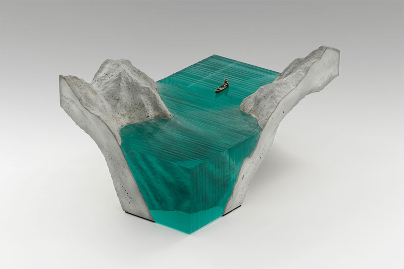 The Entrance - Water landscape glass sculptures by Ben Young.