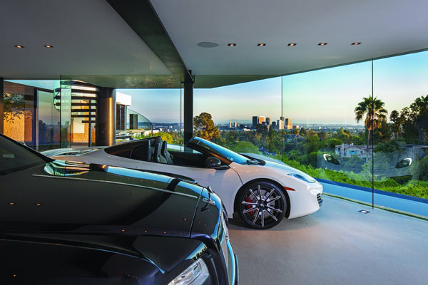 The garage of the luxurious mansion.