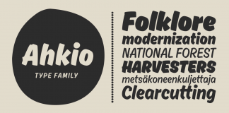 Ahkio typeface, a brushed disconnected script font family from Mika Melvas.