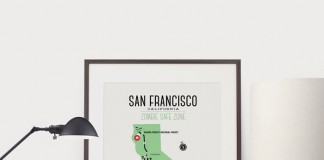 Zombie Safe Zone Maps by Design Different - San Francisco poster.