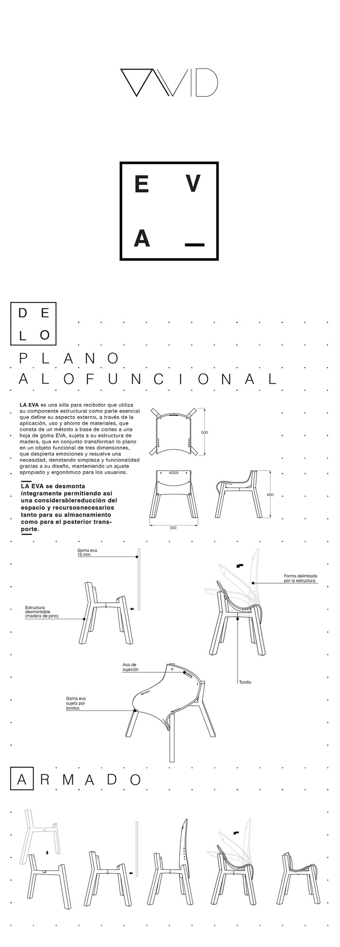 Chair design plan of the La Eva chair - unique and beautiful furniture design from San Luis Potosi, Mexico.