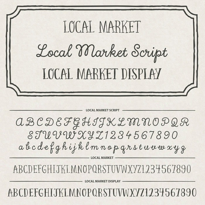 Local Market, a handmade font collection from foundry Cultivated Mind.
