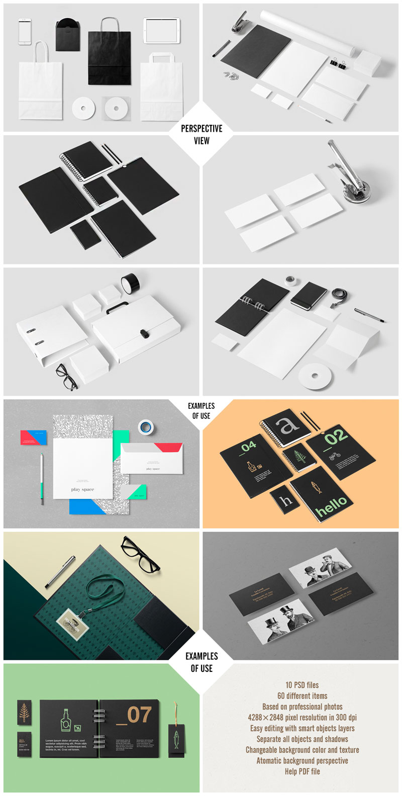 The corporate stationery mock-up set by forgraphic™ - Perspective view and examples of use.