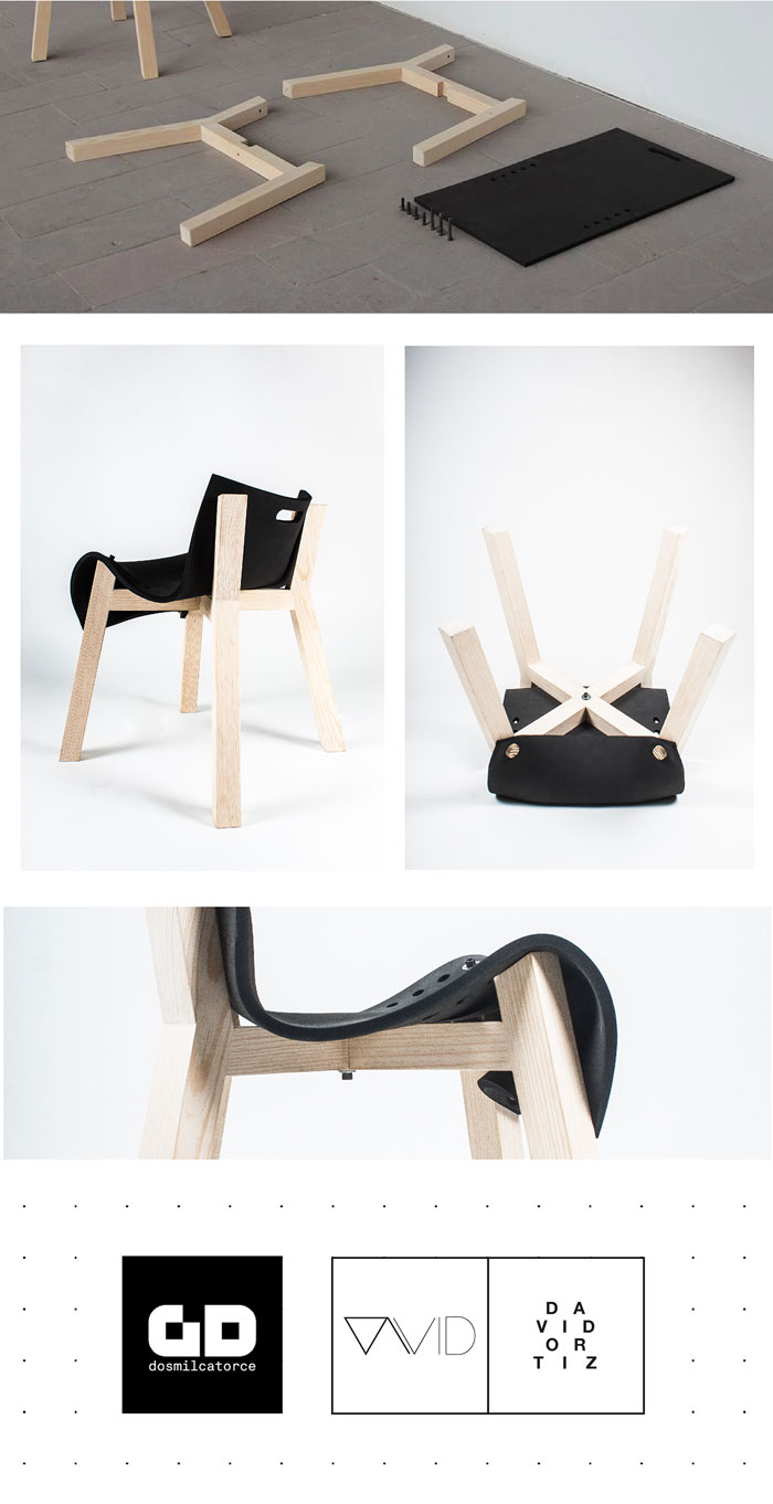 Design and simple construction of the chair. The design is characterized by its construction as well as used materials.