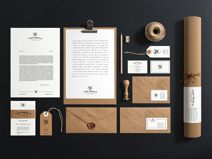 Tom Reid's Bookstore corporate identity and stationery set.