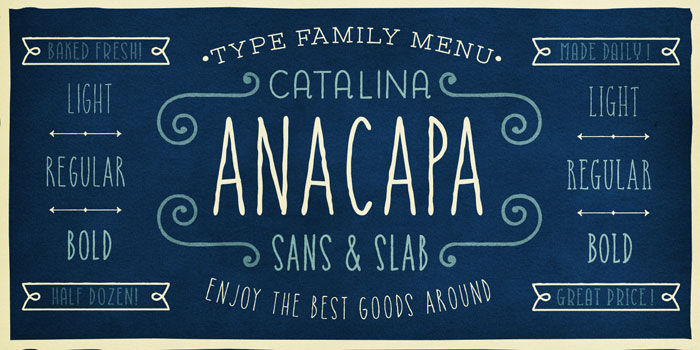 Anacapa style is available as Sans and Slab plus different weights.