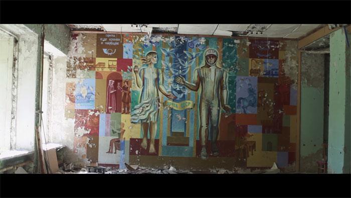 Old Soviet murals.