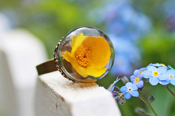 Jewelry with Real Flowers by Ruby Robin