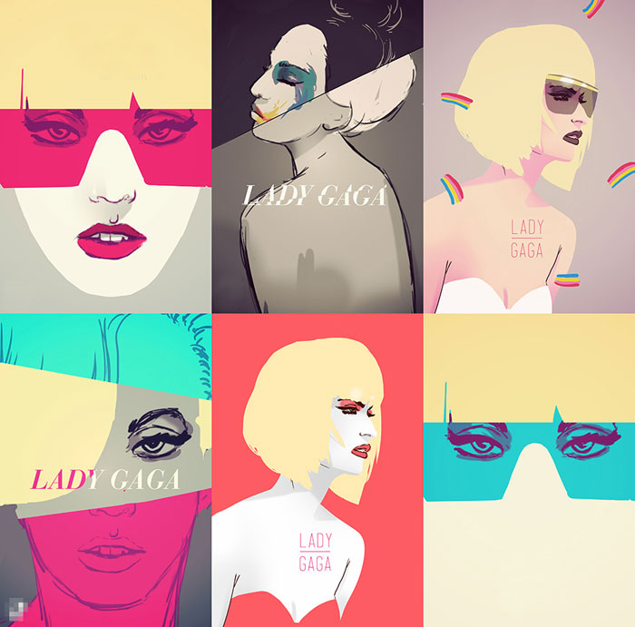 Different Lady Gaga sketches.