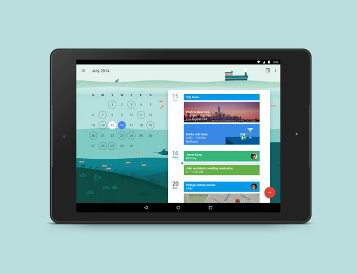 Google Calendar app for tablet.