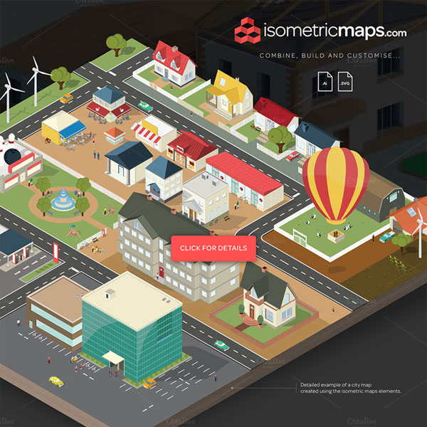 Isometric city map builder for Building map maker