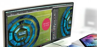 LG Monitor with curved ultrawide screen - Color space of over 99 sRGB.