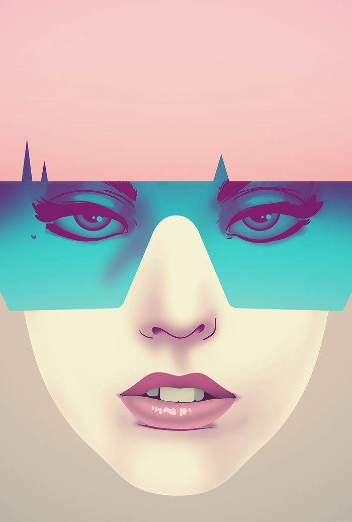 Pink and blue version of the illustration.