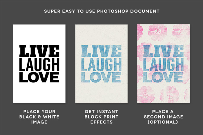 The letterpress effects of the WoodBlock printing press kit are very easy to use within your Adobe Photoshop file.