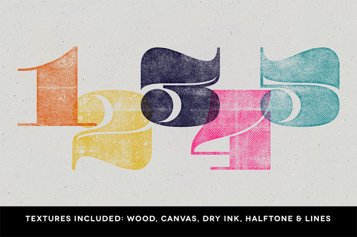 The textures include differents effects and styles such as wood, canvas, dry ink, halftone, and ink.