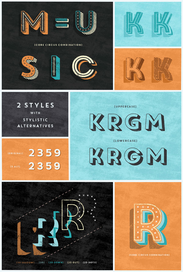 Core Circus Rough – Textured Layered Font Family