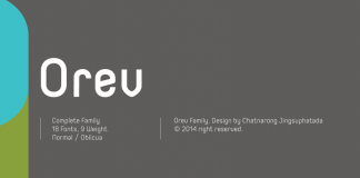 The Orev font family with 18 fonts, 9 weights, normal and oblique.