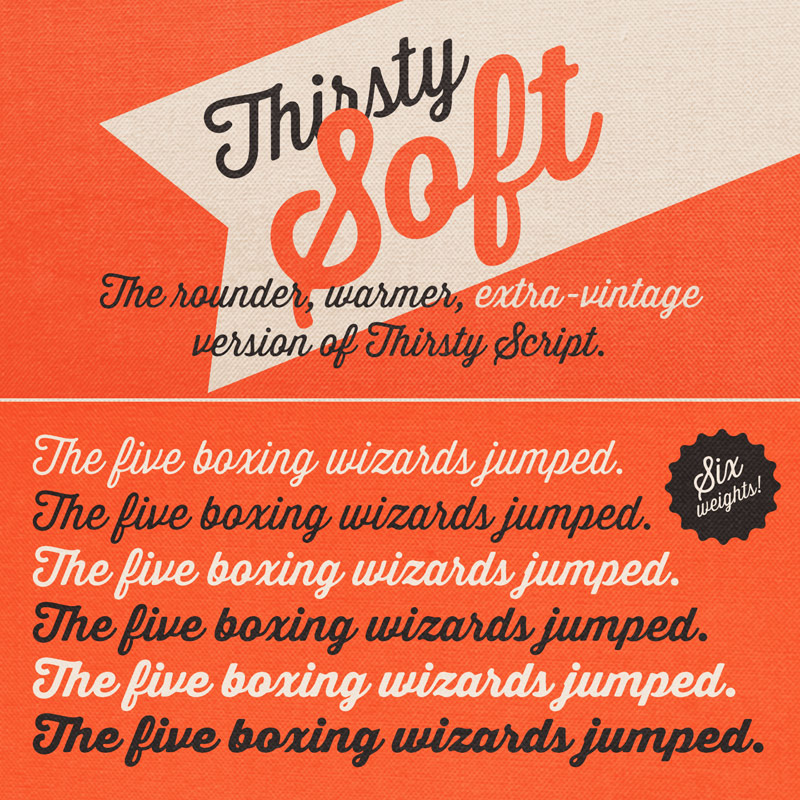 The Thirsty Soft font family from Yellow Design Studio, the rounder, warmer, extra-vintage version of Thirsty Script.