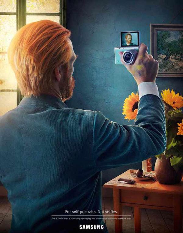"Van Gogh - SAMSUNG ""NX mini"" campaign: For self-portraits. Not selfies."